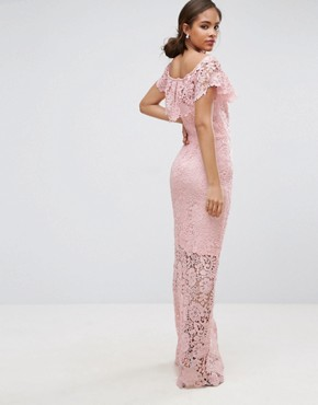 photo Bardot Lace Maxi Dress with Frill Detail by Paper Dolls Tall, color Nude - Image 2