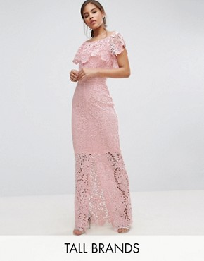 photo Bardot Lace Maxi Dress with Frill Detail by Paper Dolls Tall, color Nude - Image 1
