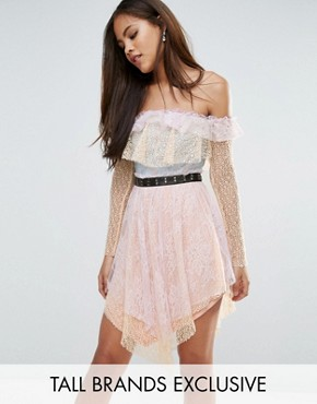 photo All Over Premium Lace Off Shoulder Tiered Mini Dress with Metal Belt by True Decadence Tall, color Multi - Image 1