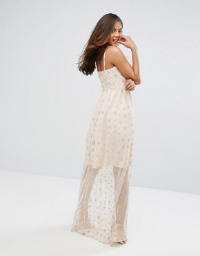 photo Wrap Front Frill Maxi Dress in Metallic Star Print by True Decadence Tall, color Nude/Gold - Image 2