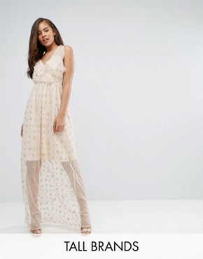 photo Wrap Front Frill Maxi Dress in Metallic Star Print by True Decadence Tall, color Nude/Gold - Image 1
