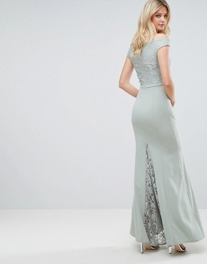 photo Lace Top Off Shoulder Fishtail Maxi Dress by Little Mistress Tall, color Waterlily - Image 2