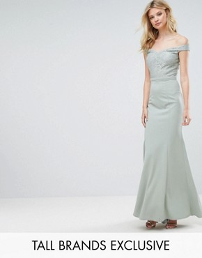 photo Lace Top Off Shoulder Fishtail Maxi Dress by Little Mistress Tall, color Waterlily - Image 1