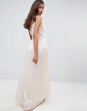 photo Ruched Pleated Maxi Prom Dress by Little Mistress Tall, color Nude - Image 2