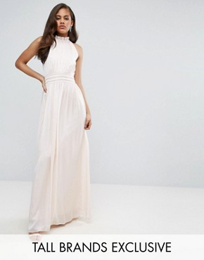 photo Ruched Pleated Maxi Prom Dress by Little Mistress Tall, color Nude - Image 1