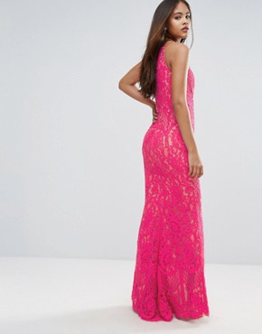 photo Allover Lace High Neck Maxi Dress by Jarlo Tall, color Fuchsia - Image 2