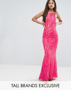 photo Allover Lace High Neck Maxi Dress by Jarlo Tall, color Fuchsia - Image 1