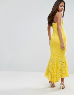 photo Allover Lace Bandeau Midi Dress with Highlow Fishtail by Jarlo Tall, color Yellow - Image 2