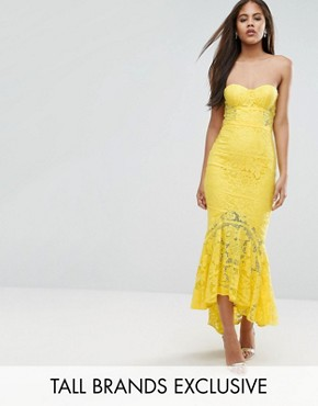 photo Allover Lace Bandeau Midi Dress with Highlow Fishtail by Jarlo Tall, color Yellow - Image 1
