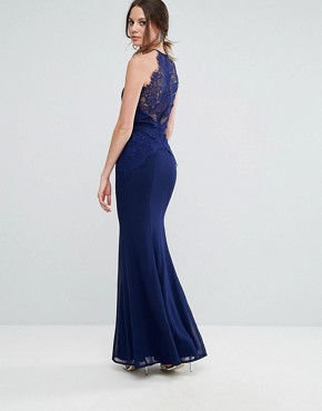 photo All Over Lace Top Fishtail Maxi Dress by Little Mistress Tall, color Navy - Image 2