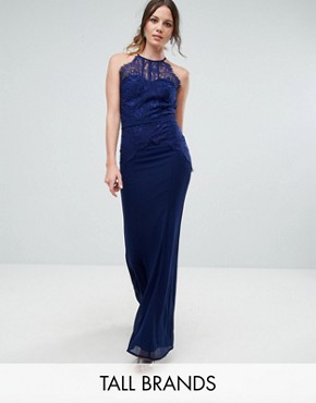 photo All Over Lace Top Fishtail Maxi Dress by Little Mistress Tall, color Navy - Image 1