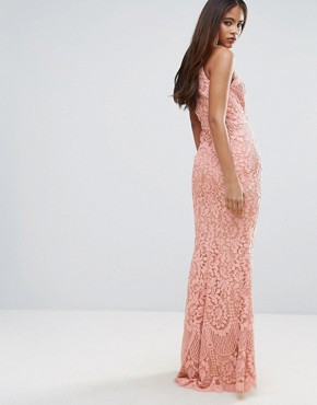 photo Allover Lace High Neck Maxi Dress by Jarlo Tall, color Nude - Image 2