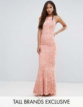 photo Allover Lace High Neck Maxi Dress by Jarlo Tall, color Nude - Image 1