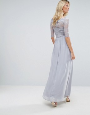 photo All Over Lace Top Maxi Dress with 3/4 Sleeves by Little Mistress Tall, color Grey - Image 2