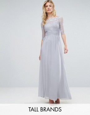 photo All Over Lace Top Maxi Dress with 3/4 Sleeves by Little Mistress Tall, color Grey - Image 1