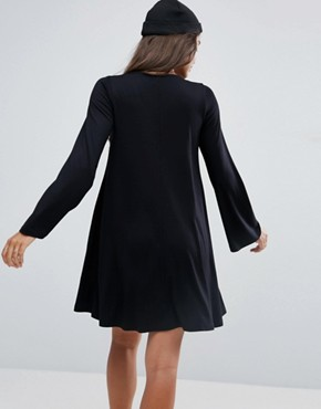 photo Button Through Swing Mini Dress with Trumpet Sleeve by ASOS, color Black - Image 2