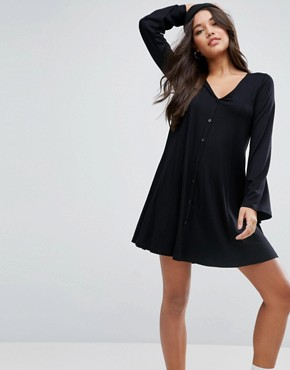 photo Button Through Swing Mini Dress with Trumpet Sleeve by ASOS, color Black - Image 1