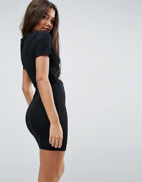 photo Mini T-Shirt Dress with Cut Out Front by ASOS, color Black - Image 2