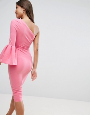 photo Crepe One Shoulder Drama Sleeve Midi Dress by ASOS, color Pink - Image 2