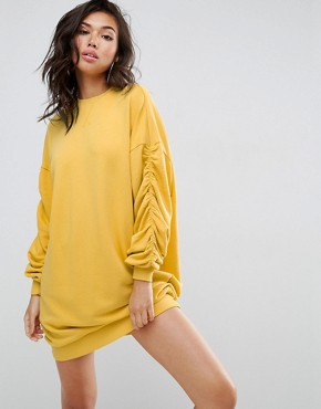 photo Open Back Sweat Dress with Ruched Sleeves by ASOS, color Mustard - Image 2
