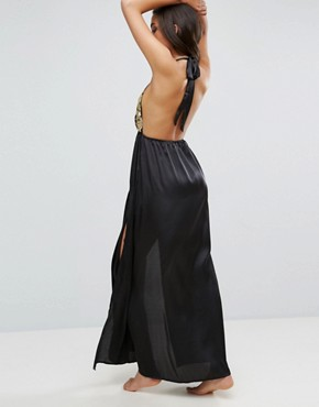 photo Beach Premium Gold Fan Embellished Maxi Dress with Splits by ASOS, color Black/Gold - Image 2