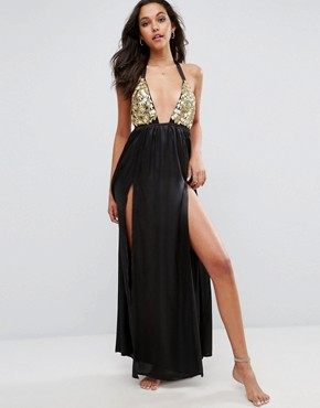 photo Beach Premium Gold Fan Embellished Maxi Dress with Splits by ASOS, color Black/Gold - Image 1