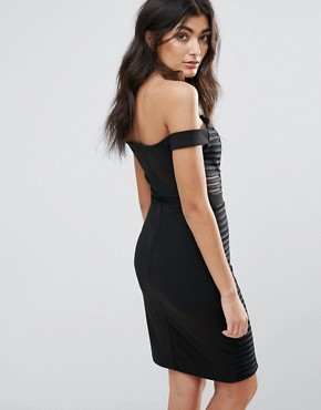 photo Off Shoulder Notch Front Bodycon Dress by Parisian, color Black - Image 2