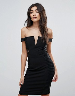 photo Off Shoulder Notch Front Bodycon Dress by Parisian, color Black - Image 1
