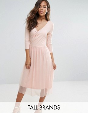 photo Wrap Tulle Skirt Dress by Vero Moda Tall, color Pink - Image 1