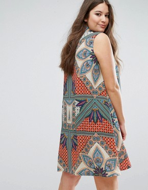 photo Sleeveless Printed Swing Shirt Dress by Alice & You, color Multi - Image 2