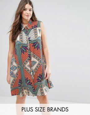 photo Sleeveless Printed Swing Shirt Dress by Alice & You, color Multi - Image 1