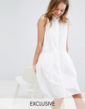 photo Sleeveless Shirt Dress by Monki, color White - Image 1