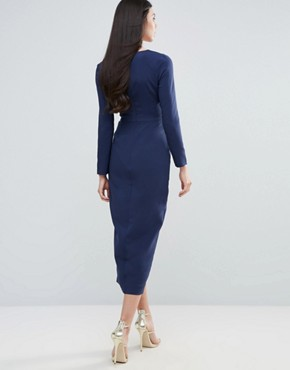 photo Pencil Dress with Cape by Lavish Alice, color Navy - Image 2