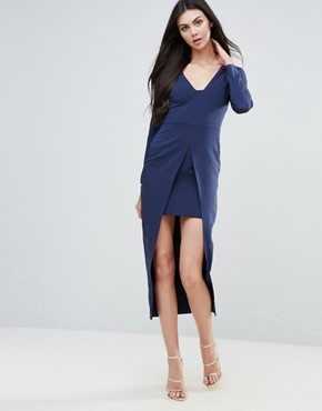 photo Pencil Dress with Cape by Lavish Alice, color Navy - Image 1