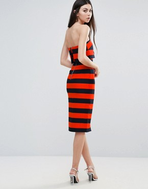 photo Striped Midi Dress by Lavish Alice, color Orange/Navy - Image 2