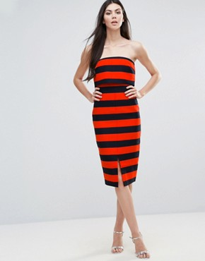 photo Striped Midi Dress by Lavish Alice, color Orange/Navy - Image 1