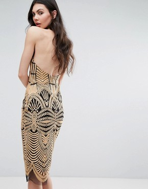 photo Contrast Lace Bodycon Dress by Lavish Alice, color Brown - Image 2