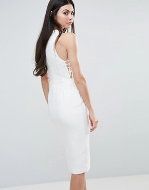 photo Midi Dress with Lace Up Front by Lavish Alice, color White - Image 2