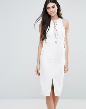 photo Midi Dress with Lace Up Front by Lavish Alice, color White - Image 1