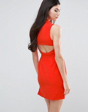 photo Shift Dress with Cut Out Back by Lavish Alice, color Orange - Image 1