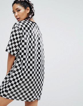 photo Sequin T-Shirt Dress in Checkerboard by Jaded London Festival, color Multi - Image 2