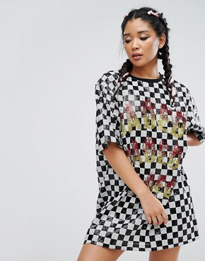 photo Sequin T-Shirt Dress in Checkerboard by Jaded London Festival, color Multi - Image 1