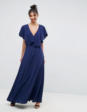 photo Flutter Sleeve Cross Back Maxi Dress by ASOS, color Navy - Image 2