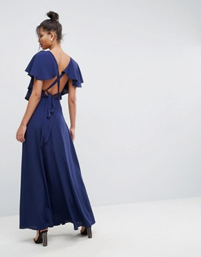 photo Flutter Sleeve Cross Back Maxi Dress by ASOS, color Navy - Image 1