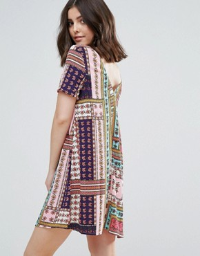 photo Button Through Tea Dress in Bright Patchwork Print by Glamorous Petite, color Multi - Image 2