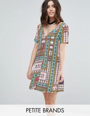 photo Button Through Tea Dress in Bright Patchwork Print by Glamorous Petite, color Multi - Image 1