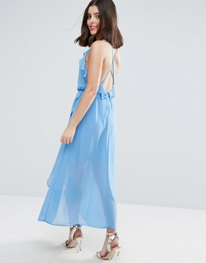 photo Wrap Cami Dress with Ruffles by True Decadence Petite, color Soft Blue - Image 2