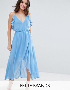 photo Wrap Cami Dress with Ruffles by True Decadence Petite, color Soft Blue - Image 1