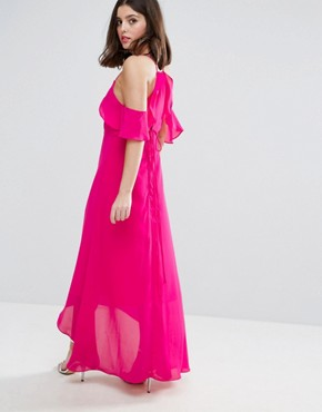 photo Cold Shoulder Maxi Dress by True Decadence Petite, color Pink - Image 2