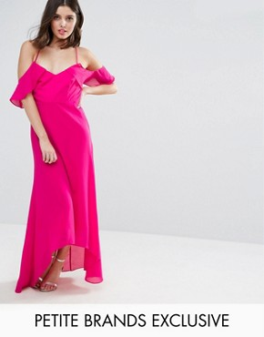 photo Cold Shoulder Maxi Dress by True Decadence Petite, color Pink - Image 1